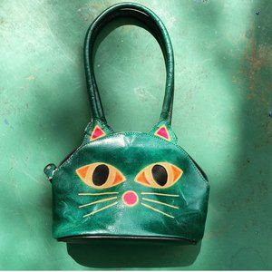 Vintage Kitschy Kitten Leather Mini Purse India